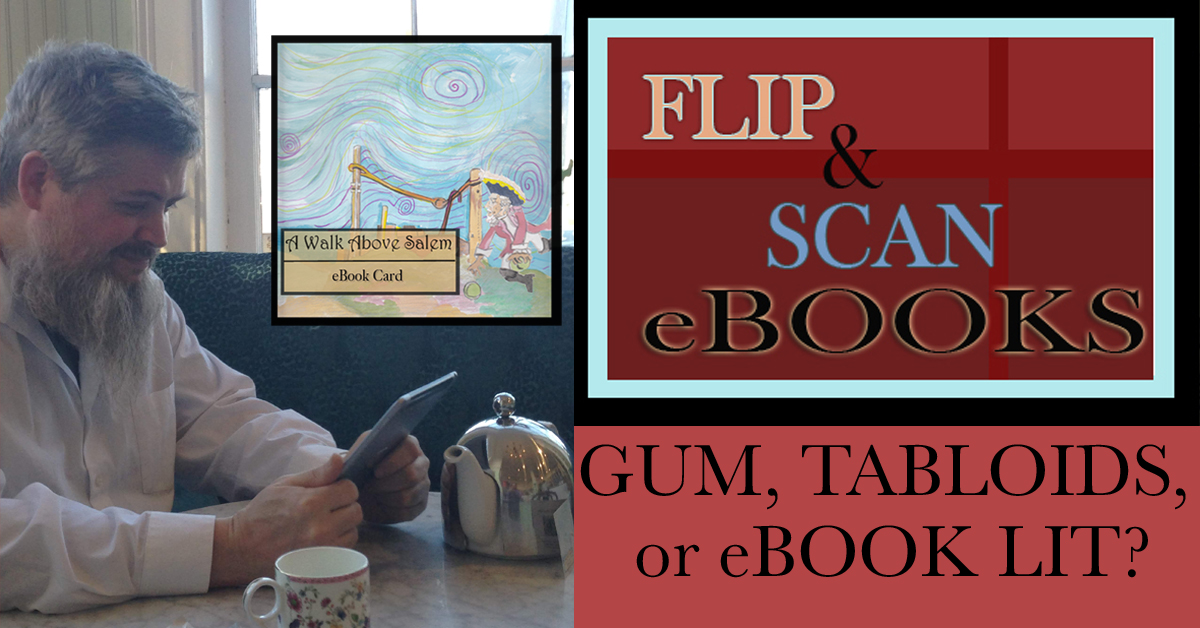 Gum, tabloids, or eLIt ad for Flip and Scan eBook Cards